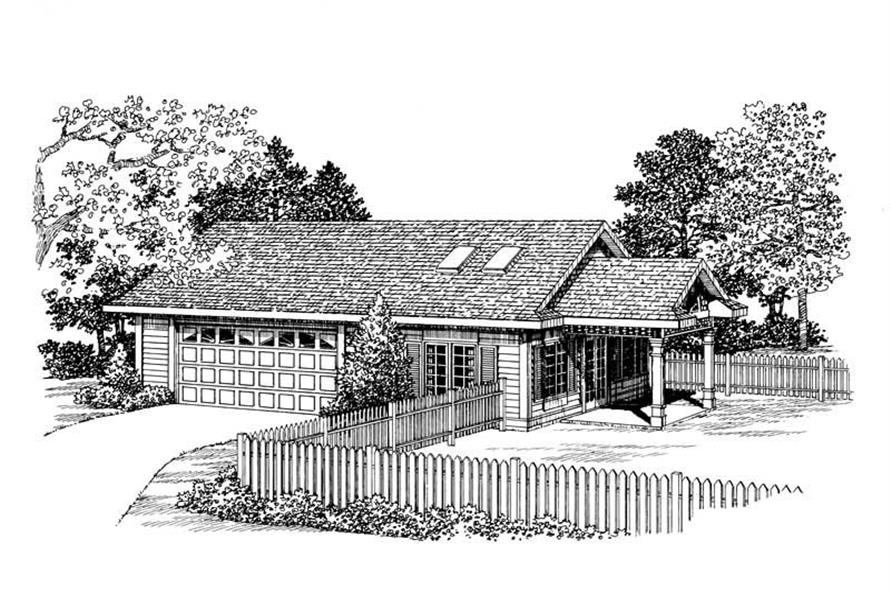 1-Bedroom, 321 Sq Ft Garage House Plan - 137-1107 - Front Exterior