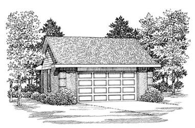 1-Bedroom, 600 Sq Ft Garage House Plan - 137-1108 - Front Exterior