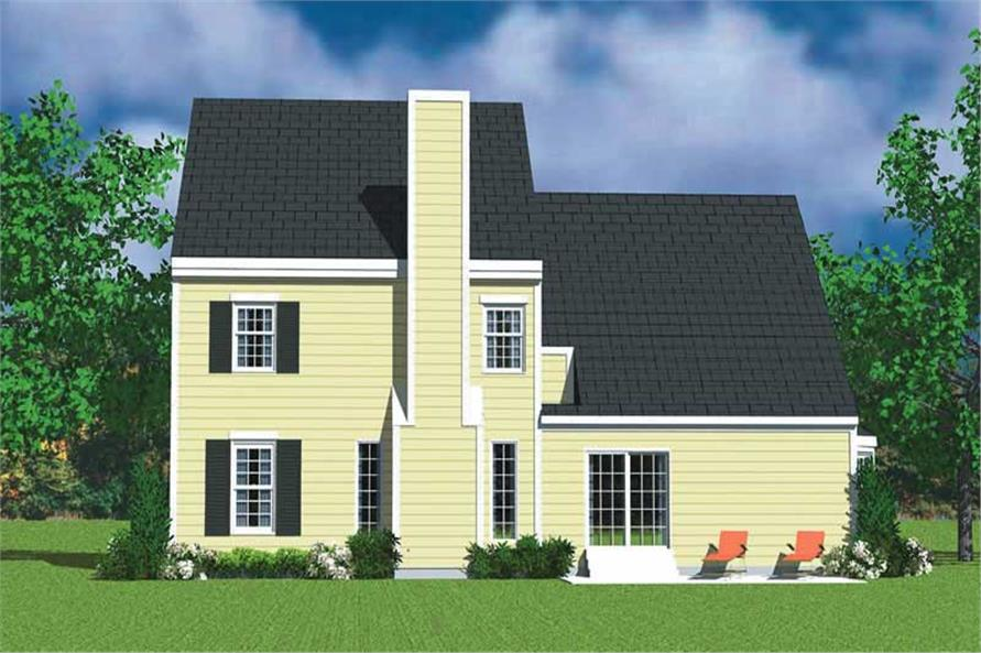 Home Plan Rear Elevation of this 4-Bedroom,2059 Sq Ft Plan -137-1116
