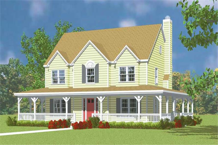 4-Bedroom, 2295 Sq Ft Country House Plan - 137-1118 - Front Exterior