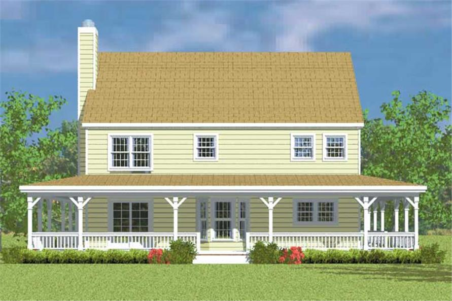 Home Plan Rear Elevation of this 4-Bedroom,2295 Sq Ft Plan -137-1118