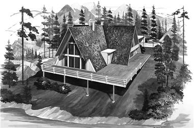 This is a black and white rendering of these great Vacation Home Plans # 17282