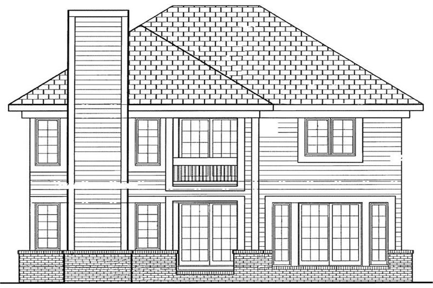 Home Plan Rear Elevation of this 4-Bedroom,2513 Sq Ft Plan -137-1129
