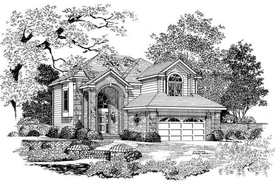 Home Plan Front Elevation of this 4-Bedroom,2513 Sq Ft Plan -137-1129