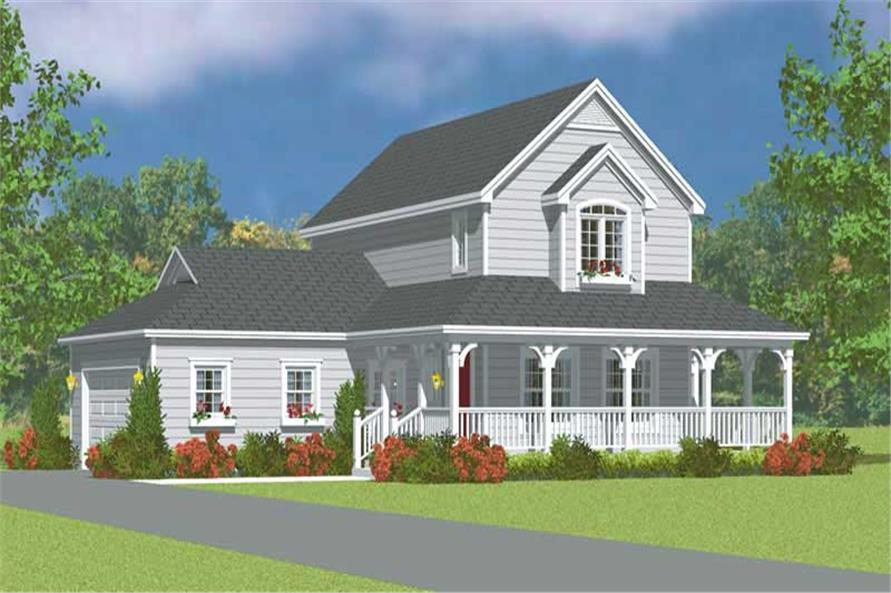 3-Bedroom, 1406 Sq Ft Country Home Plan - 137-1137 - Main Exterior
