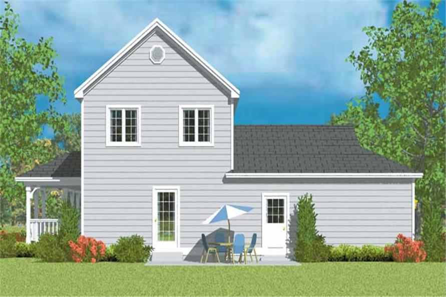Home Plan Rear Elevation of this 3-Bedroom,1406 Sq Ft Plan -137-1137