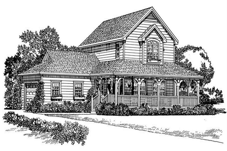 Home Plan Front Elevation of this 3-Bedroom,1406 Sq Ft Plan -137-1137