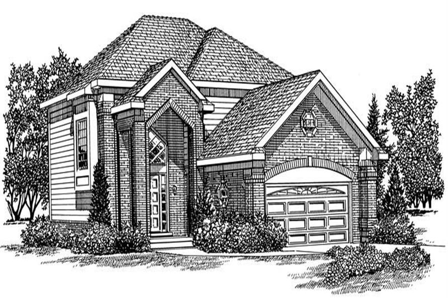 Home Plan Front Elevation of this 2-Bedroom,2152 Sq Ft Plan -137-1138