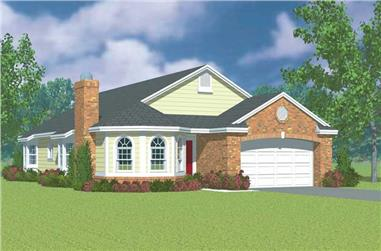 3-Bedroom, 1971 Sq Ft Ranch House Plan - 137-1141 - Front Exterior