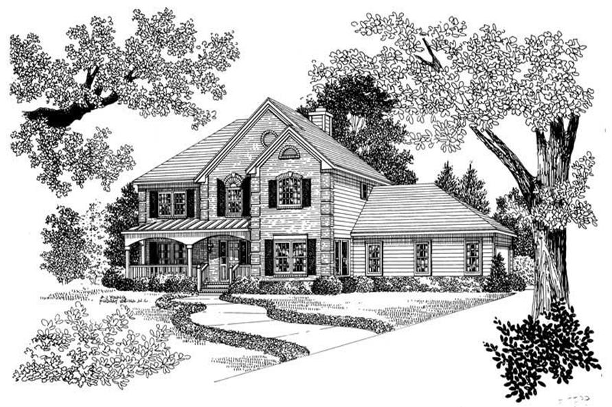 Home Plan Front Elevation of this 4-Bedroom,2359 Sq Ft Plan -137-1148