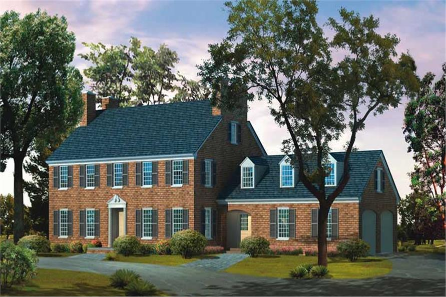 4-Bedroom, 3268 Sq Ft Colonial House Plan - 137-1151 - Front Exterior
