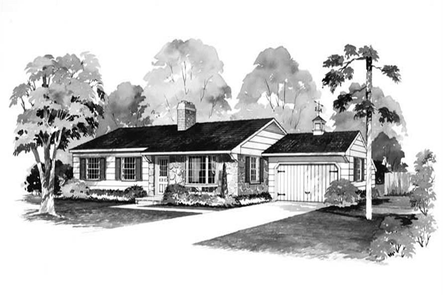 3-Bedroom, 1232 Sq Ft Ranch Home Plan - 137-1153 - Main Exterior