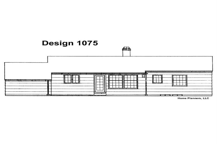 Home Plan Rear Elevation of this 3-Bedroom,1232 Sq Ft Plan -137-1153