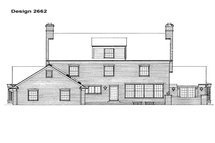 Home Plan Rear Elevation of this 5-Bedroom,3556 Sq Ft Plan -137-1159