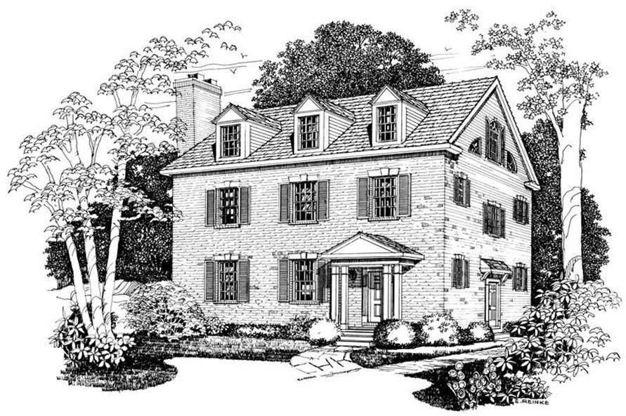 3-Bedroom, 2016 Sq Ft Colonial House Plan - 137-1160 - Front Exterior