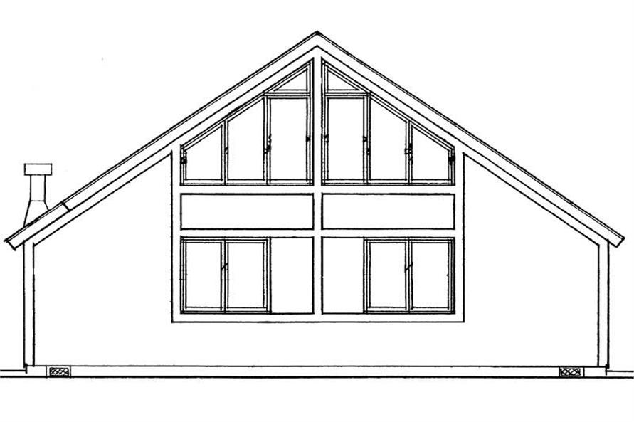 Home Plan Rear Elevation of this 2-Bedroom,1059 Sq Ft Plan -137-1163