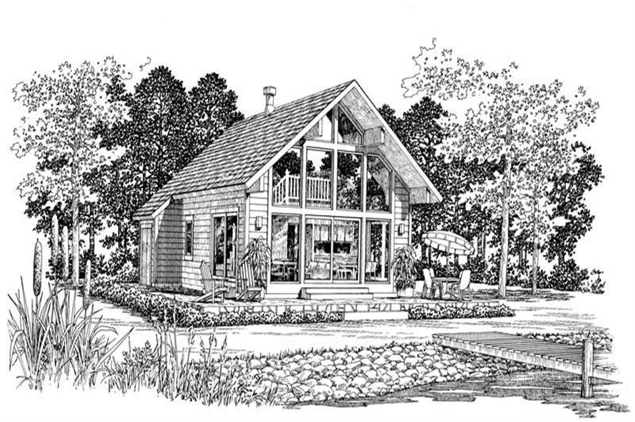 Home Plan Front Elevation of this 2-Bedroom,1059 Sq Ft Plan -137-1163