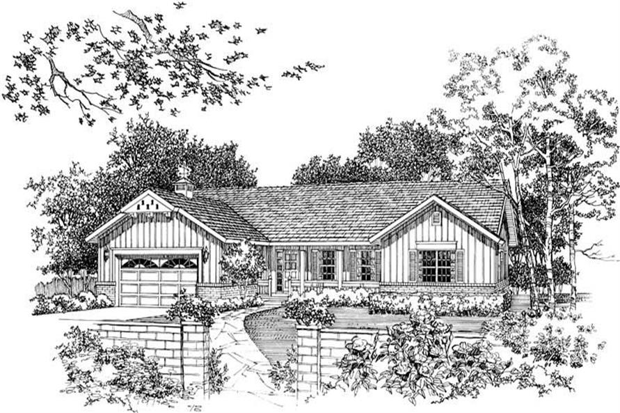 Home Plan Front Elevation of this 3-Bedroom,2076 Sq Ft Plan -137-1176