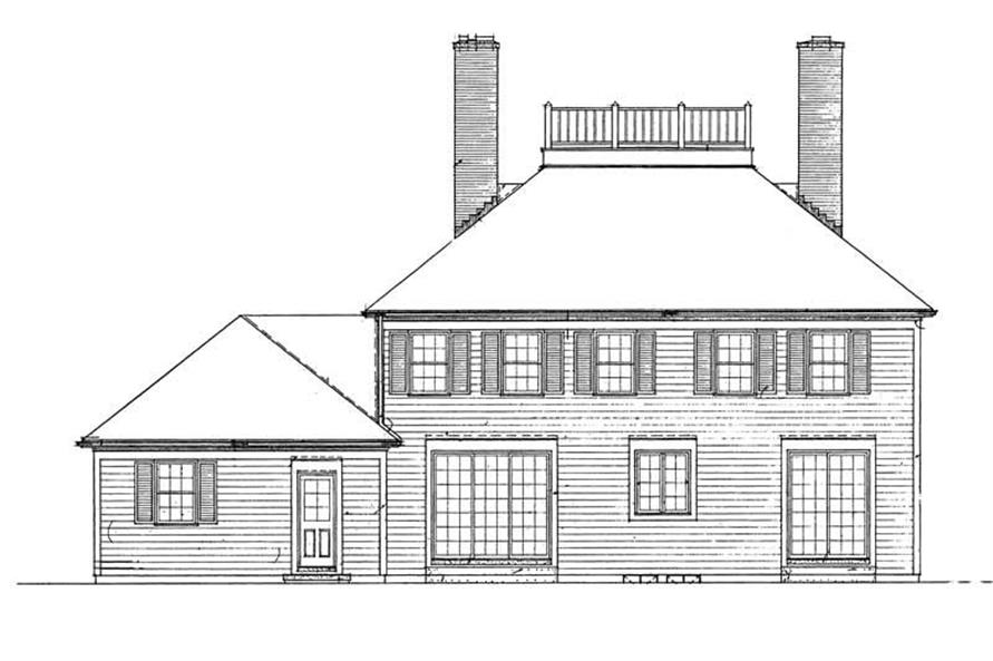 Home Plan Rear Elevation of this 4-Bedroom,3079 Sq Ft Plan -137-1182