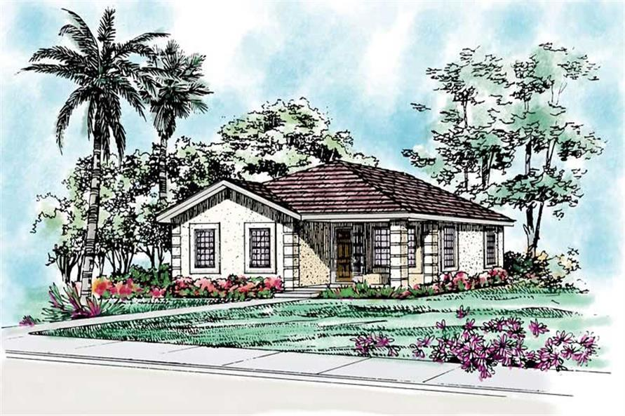 4-Bedroom, 1634 Sq Ft Bungalow Home Plan - 137-1196 - Main Exterior