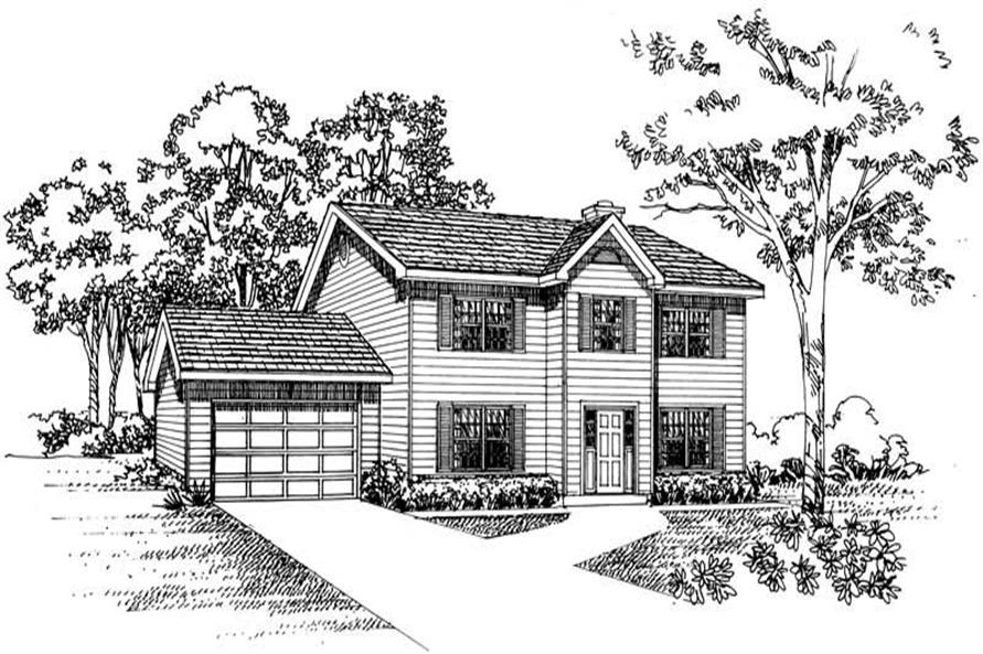 4-Bedroom, 1897 Sq Ft Colonial House Plan - 137-1201 - Front Exterior
