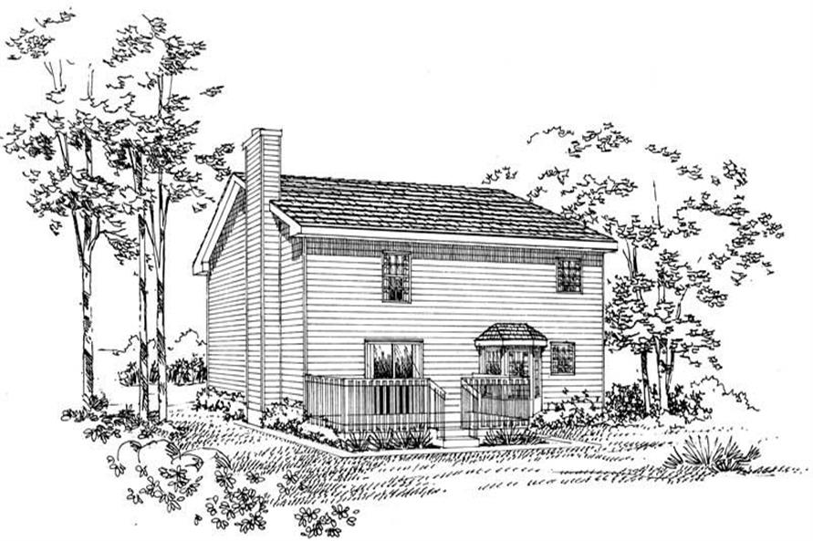 Home Plan Rear Elevation of this 4-Bedroom,1897 Sq Ft Plan -137-1201