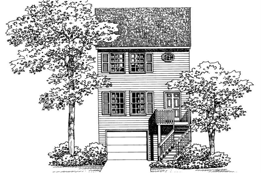 Home Plan Front Elevation of this 2-Bedroom,1067 Sq Ft Plan -137-1202
