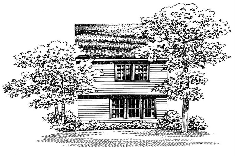 Home Plan Rear Elevation of this 2-Bedroom,1067 Sq Ft Plan -137-1202