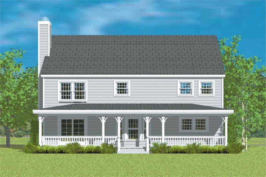 Home Plan Rear Elevation of this 4-Bedroom,2271 Sq Ft Plan -137-1208
