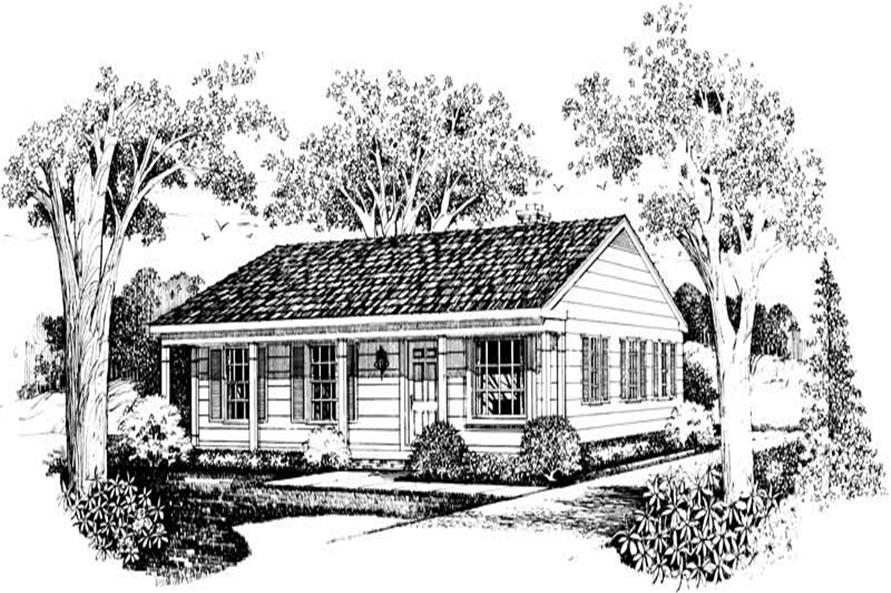 Home Plan Front Elevation of this 3-Bedroom,1080 Sq Ft Plan -137-1209