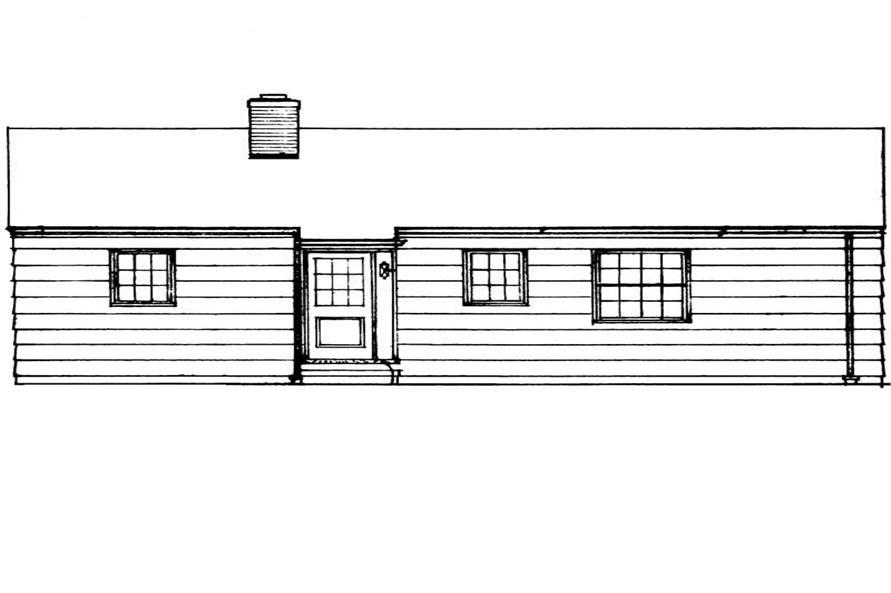 Home Plan Rear Elevation of this 3-Bedroom,1080 Sq Ft Plan -137-1209