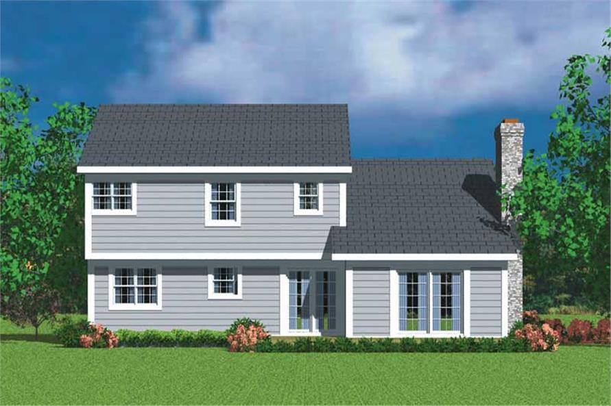 Home Plan Rear Elevation of this 3-Bedroom,2030 Sq Ft Plan -137-1213