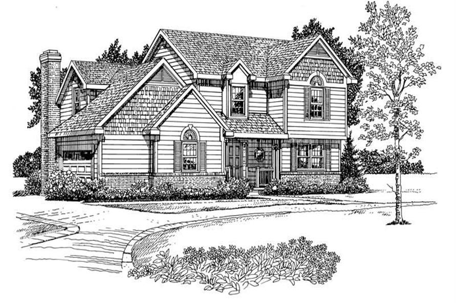 Home Plan Front Elevation of this 3-Bedroom,2024 Sq Ft Plan -137-1214