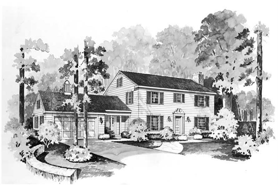 4-Bedroom, 2416 Sq Ft Colonial Home Plan - 137-1215 - Main Exterior
