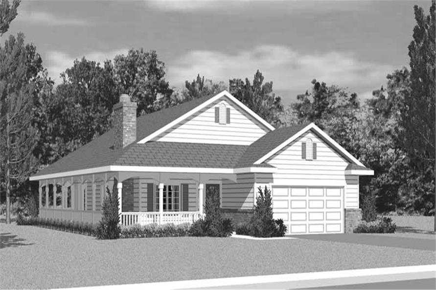 Home Plan Front Elevation of this 3-Bedroom,1676 Sq Ft Plan -137-1217