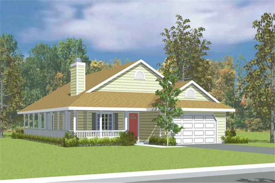 3-Bedroom, 1676 Sq Ft Country House Plan - 137-1227 - Front Exterior