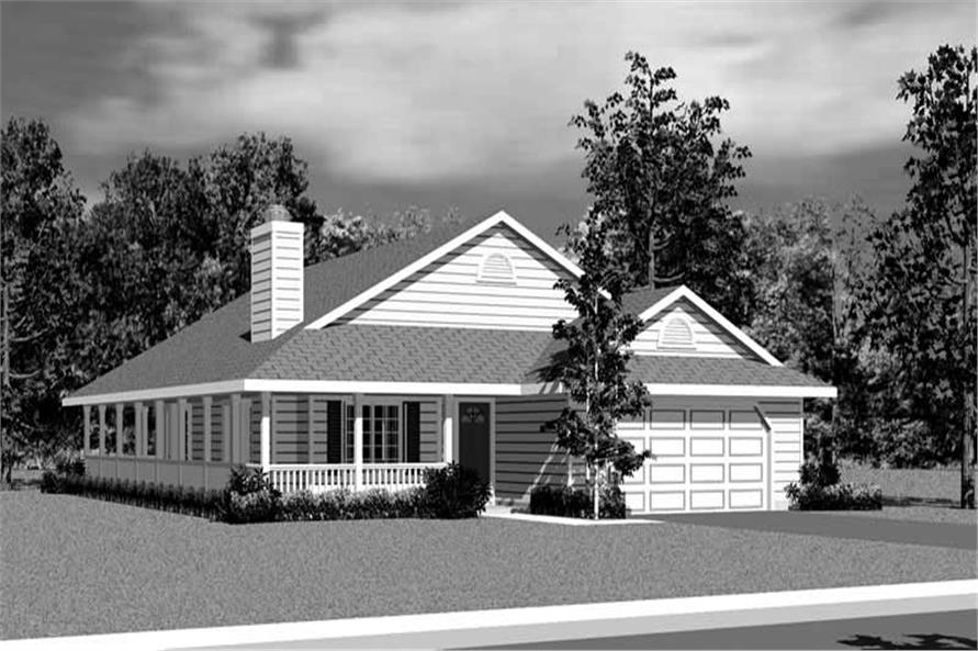 Home Plan Front Elevation of this 3-Bedroom,1676 Sq Ft Plan -137-1227