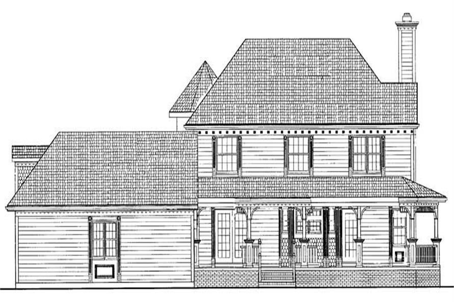 Home Plan Rear Elevation of this 4-Bedroom,2174 Sq Ft Plan -137-1229