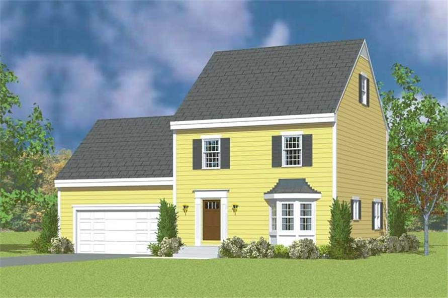 3-Bedroom, 1497 Sq Ft Colonial Home Plan - 137-1232 - Main Exterior