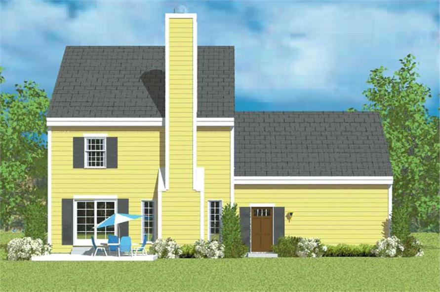 Home Plan Rear Elevation of this 3-Bedroom,1497 Sq Ft Plan -137-1232