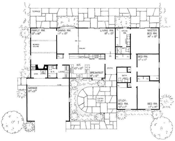 Ranch house plans home design hw 1950 17378 for 1950 ranch house plans