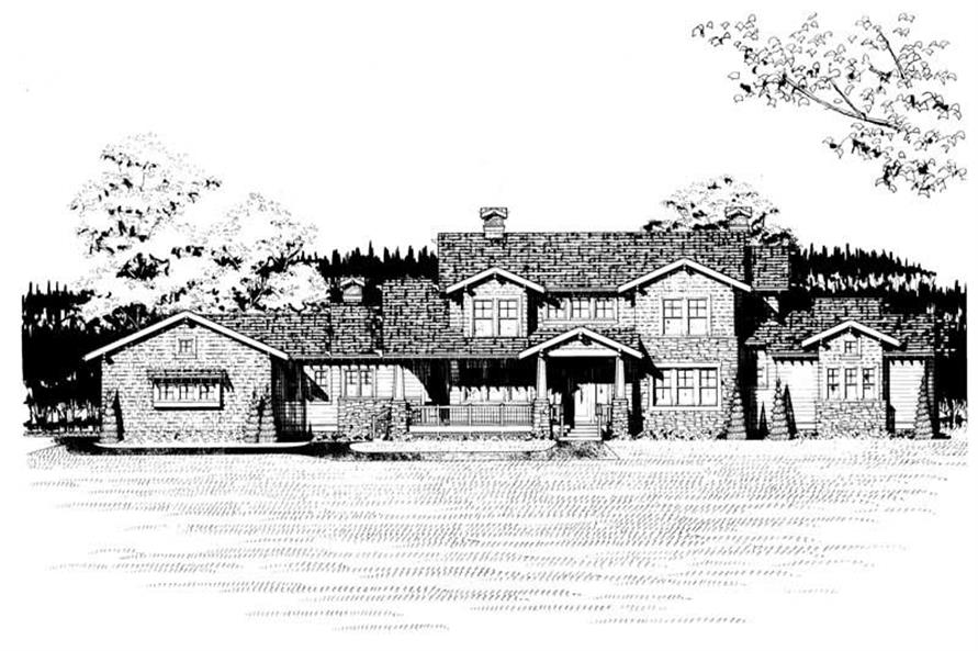 Home Plan Front Elevation of this 4-Bedroom,4167 Sq Ft Plan -137-1237