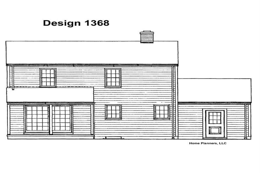 Home Plan Rear Elevation of this 4-Bedroom,1456 Sq Ft Plan -137-1238