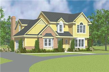 3-Bedroom, 2037 Sq Ft Country Home Plan - 137-1241 - Main Exterior
