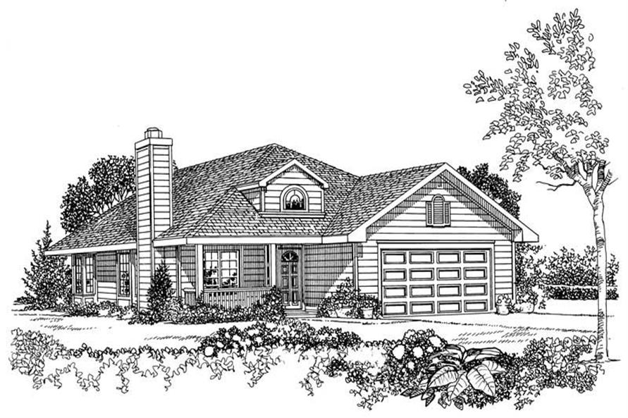 Home Plan Front Elevation of this 3-Bedroom,1676 Sq Ft Plan -137-1244
