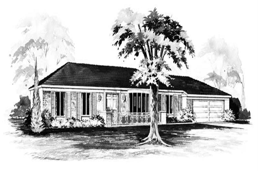 3-Bedroom, 1488 Sq Ft Ranch House Plan - 137-1247 - Front Exterior