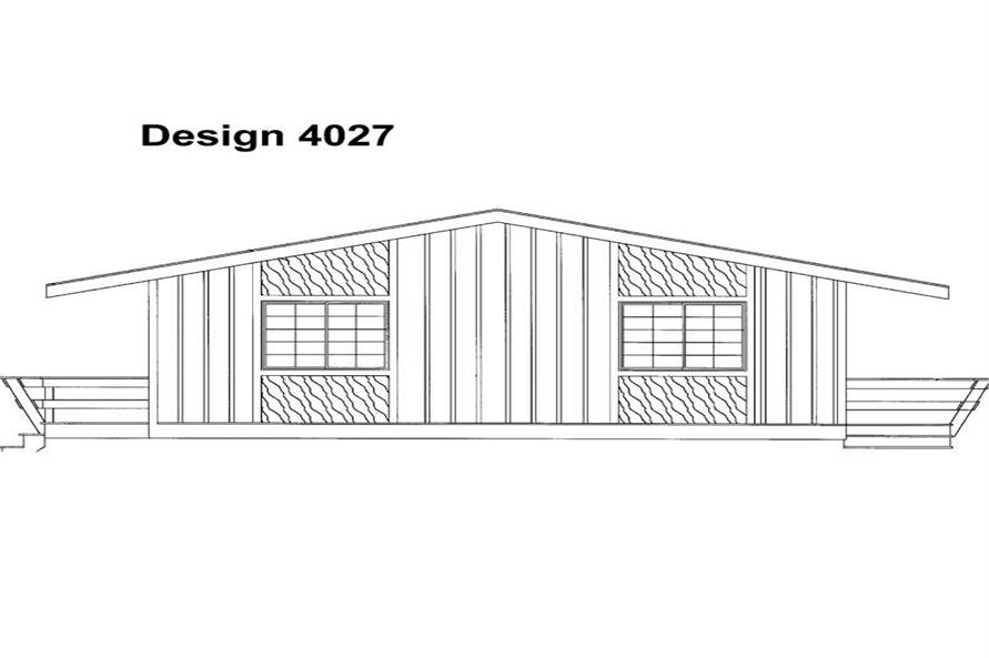 Home Plan Rear Elevation of this 4-Bedroom,1320 Sq Ft Plan -137-1251