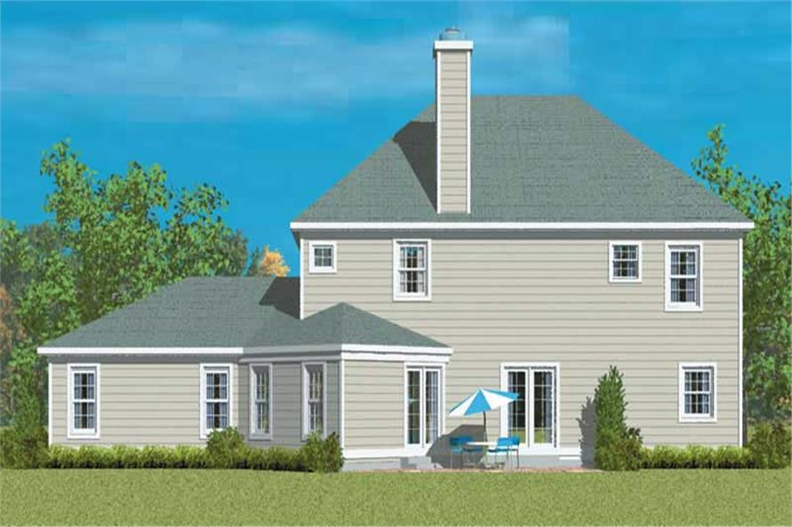 Home Plan Rear Elevation of this 4-Bedroom,2344 Sq Ft Plan -137-1256