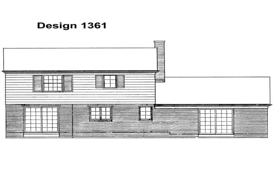 Home Plan Rear Elevation of this 3-Bedroom,1705 Sq Ft Plan -137-1265