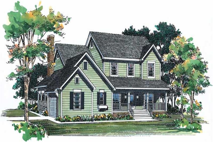 4-Bedroom, 2190 Sq Ft Country House Plan - 137-1277 - Front Exterior